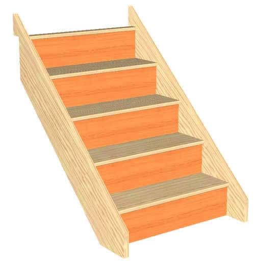 5 Riser Straight Staircase Pine strings Pine Treads Plywood risers