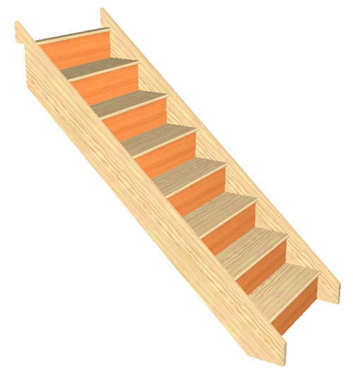 8 Riser Straight Staircase Pine strings Pine Treads Plywood risers
