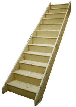 Beau 12 Riser Straight Staircase Pine Strings Pine Treads Plywood Risers