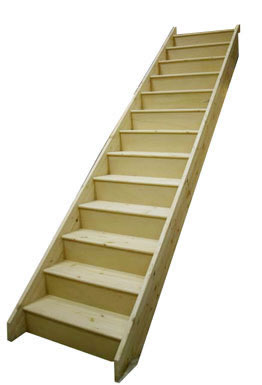 13 Riser Straight Staircase Pine strings Pine Treads Plywood risers